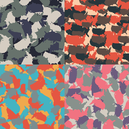 urban jungle: Colorful America urban camouflage. Set of USA shape camo seamless pattern. Vector fabric textile. Military print design. Illustration