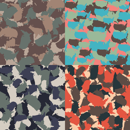 Set of USA shape camo seamless pattern. Colorful America urban camouflage. Vector fabric textile print design Reklamní fotografie