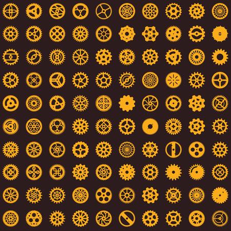 創造的なスチームパンクシームレスなテクスチャデザイン。時計仕掛けギアは、背景上の無限の歯車パターンをベクトル
