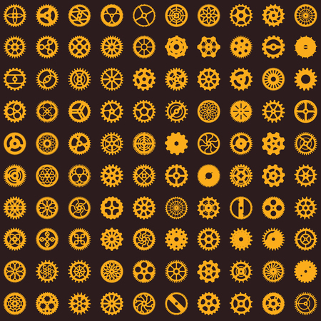 Creative steampunk seamless texture design. Clockwork gears vector infinite cogwheel pattern on background