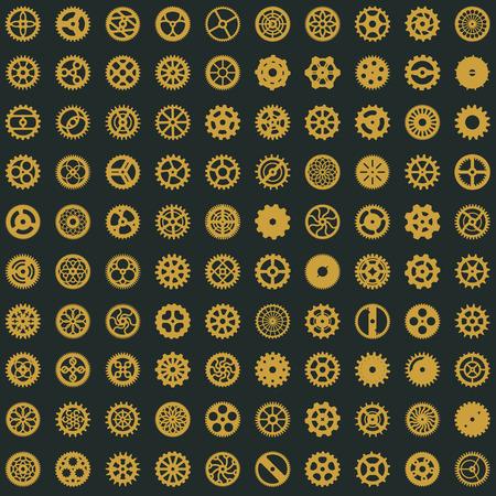 Creative steampunk seamless digital paper texture. Clockwork gears vector design. Cogwheel pattern on dark background Stock Illustratie