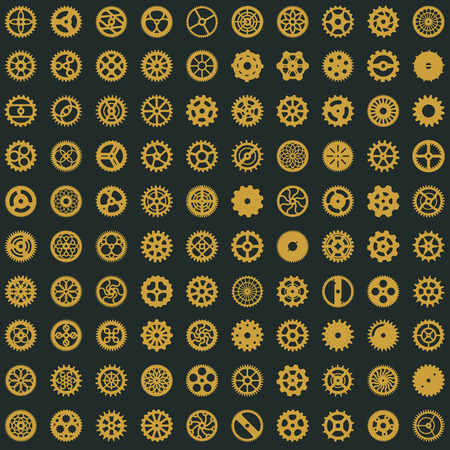 Creative steampunk seamless digital paper texture. Clockwork gears vector design. Cogwheel pattern on dark background Illustration