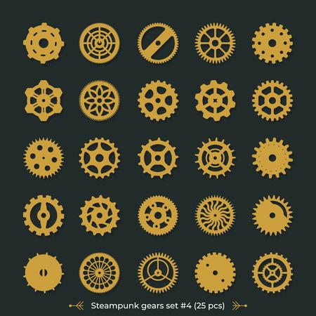 Brass cogs on dark green background Steampunk gears vector set victorian era illustration design elements great for laser cut