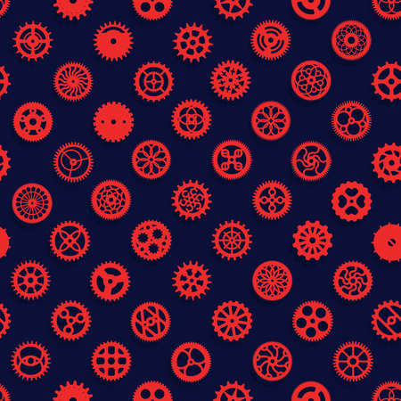 Creative modern steampunk digital paper design. Red clockwork gears vector seamless texture. Cogwheel pattern on blue background Ilustrace