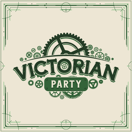 Green steampunk party design victorian era cogwheels vector poster on light background great for banner or invitation