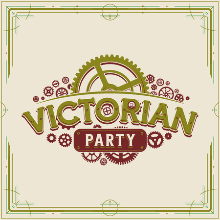 Victorian party vintage gears design victorian era cogwheels vector on light background great for banner or invitation Ilustrace