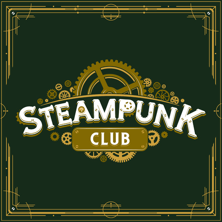 Steampunk club insignia gears design victorian era cogwheels vector poster great for banner or party invitation Ilustrace
