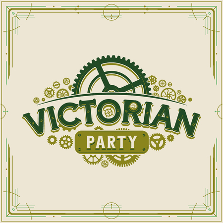Victorian party vintage design victorian era gears vector on light background great for banner or invitation