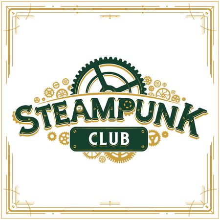 Steampunk Design viktorianisches Ära Cogwheels Club Vector Insignia Poster ideal für Banner oder Partyeinladung