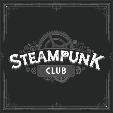 Steampunk club design victorian era cogwheels insignia vector poster on dark background