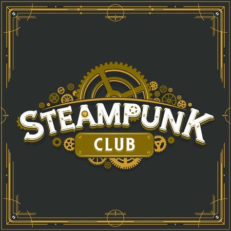 Cartel de vector de insignia de ruedas dentadas de la época victoriana de diseño dorado del club Steampunk sobre fondo gris ideal para pancarta o invitación a una fiesta