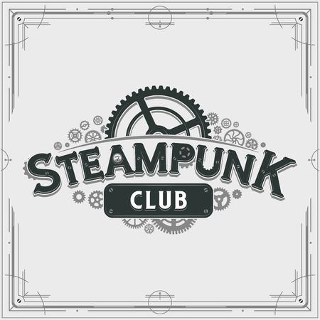 Steampunk Club Design viktorianisches Ära Zahnräder Abzeichen Vektor Poster auf hellem Hintergrund ideal für Banner oder Partyeinladung