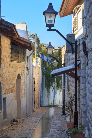 kabbalah: Street in Zefat (Safed) city, north Israel. Center of kabbalah and artists. Winter.
