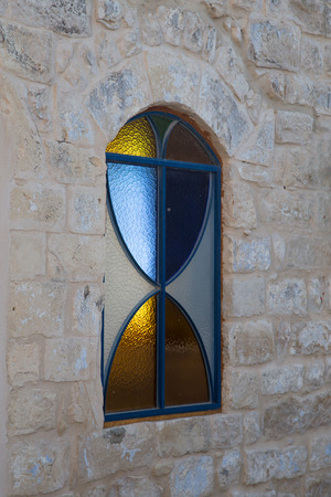 colored window: Colored window of synagogue in Zefat (Safed) Israel.