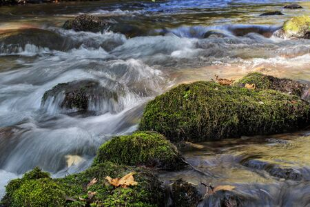 banias: Flowing water over stones with green moss. Hermon (Banias) river, Israel. Stock Photo