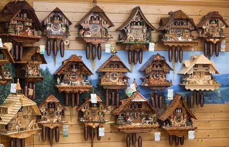 Vintage wooden cuckoo clocks wall, Triberg, Germany