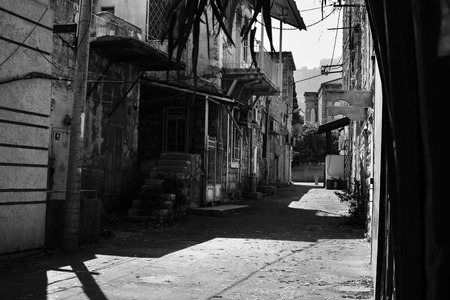 jewish houses: Black and White picture, Haifa patio, street view, downtown, old city.