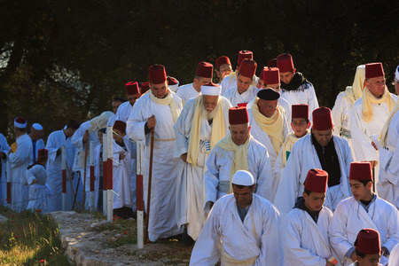 nablus: NABLUS, WEST BANK - APRIL ,2015, Members of the ancient Samaritan community during the holy day of Shavuot in Mount Gerizim