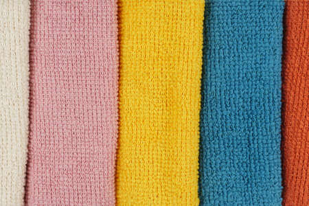 Colored microfiber cleaning cloths. Close-up.Top view Stock fotó