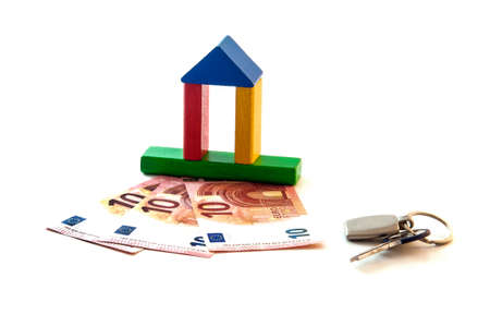 housebuilding: The house made from wooden toy blocks with euro money