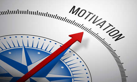 motivation icon: 3D rendering of a compass with a Motivation icon. Stock Photo