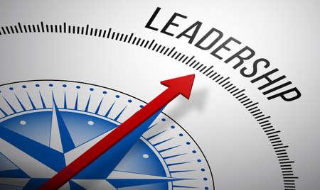 Representación 3D de una brújula con un icono de liderazgo.