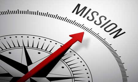 Grafika trójwymiarowa kompasu z ikoną misji.
