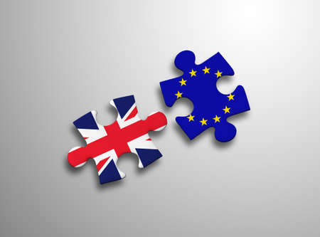 conservative: United Kingdom and European Union in puzzle isolated on white background.