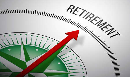 financial advisors: 3D rendering of a compass with a Retirement icon.