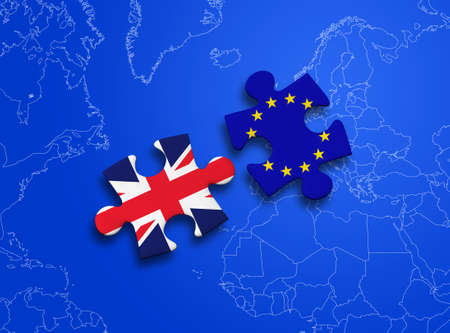 conservative: United Kingdom and European Union in puzzle isolated on blue background.