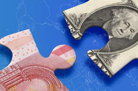 Dollar versus euro puzzle concept.