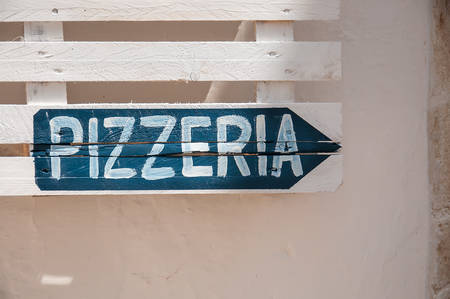Sign with italian word Pizzeria