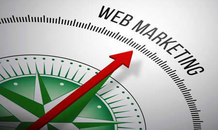 web marketing: 3D rendering of a compass with a Web Marketing icon.