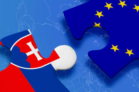 yes or no to euro: and European Union in puzzle on blue background.