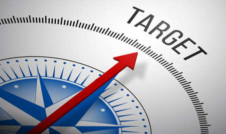 aim: 3D rendering of a compass with a Target icon. Stock Photo