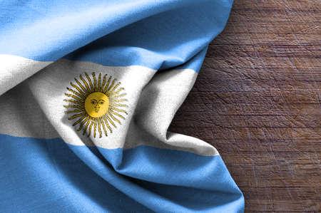 Drapeau de l'Argentine sur fond de bois Banque d'images