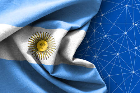 Flag of Argentina on connections background
