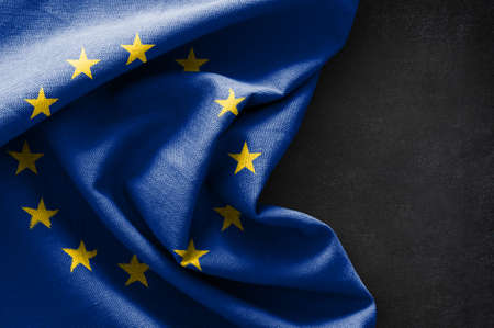 Flag of Europe on blackboard background Stock Photo