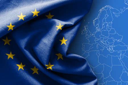 Drapeau de l'Europe sur fond de carte Banque d'images