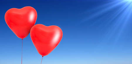 Love heart balloons on sky background Banque d'images