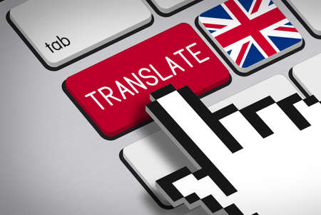 3D rendering - Computer Keyboard with Translate Button, Flag of United Kingdom and Hand Cursor Stock Photo