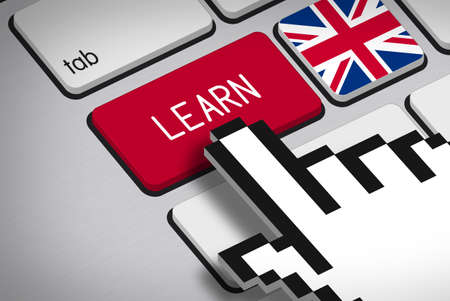 3D rendering - Computer Keyboard with Learn Button, Flag of United Kingdom and Hand Cursor