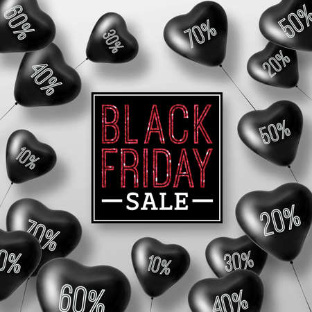 3D Rendering Black Friday Sale Balloon Hearts Concept of Discount