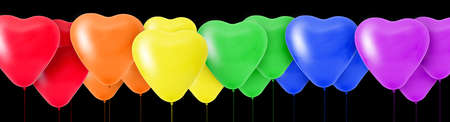 3D Rendering Rainbow of colorful balloons in the shape of hearts