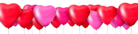 3D Rendering Red balloons in the shape of hearts Stock Photo