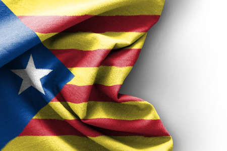 Flag of Catalonia on white background, 3D rendering