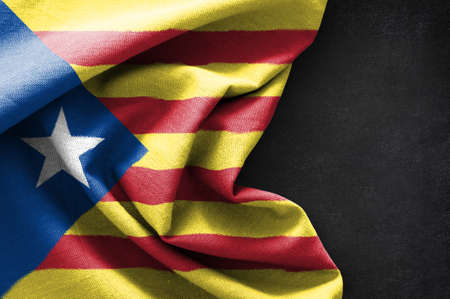 Flag of Catalonia on blackboard background, 3D rendering