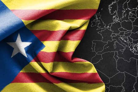 Flag of Catalonia on map background, 3D rendering Stock Photo