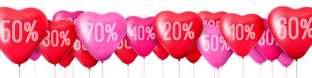 3D Rendering Red balloons in the shape of hearts, Sale
