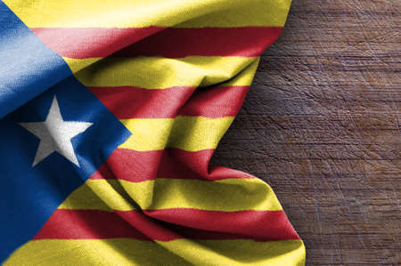 Flag of Catalonia on wood background, 3D rendering Stock Photo